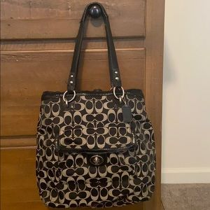 Black and Gray Coach Shoulder Bag